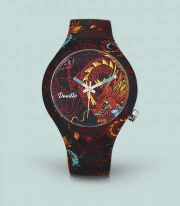 Reloj Doodle Dragón rojo
