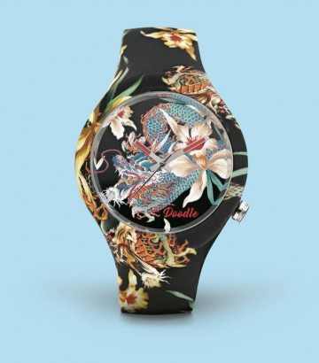 Reloj Doodle Dragón y Orquidea