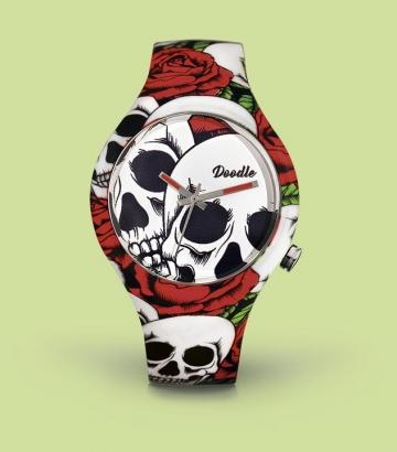 Reloj Doodle Roses and Skulls