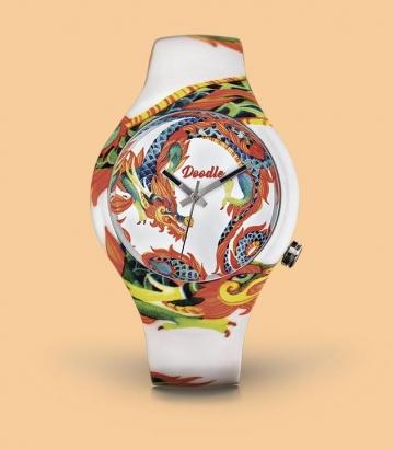 Reloj Doodle Dragón blanco
