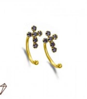 Pendientes LeCarré Ear Cuff Oro Cruz Negra