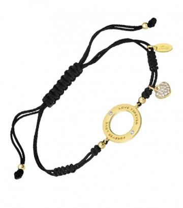 Pulsera Lotus Silver Plata Chapada en Oro Círculo Corazón Circonitas