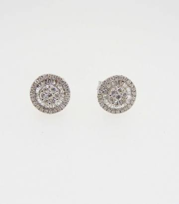 Pendientes roseta de oro blanco con diamantes