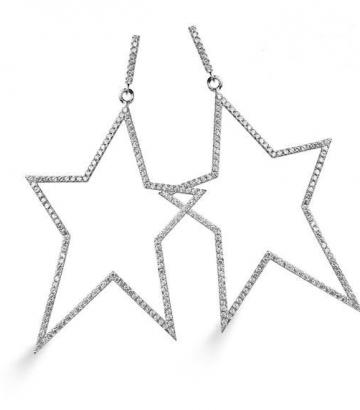 Pendientes plata estrella grande
